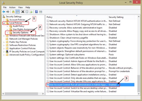 Local Security Settings window